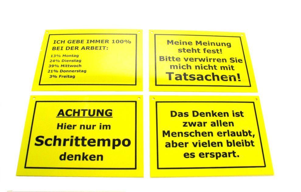 set 9 stk verschiedene schilder mit spr chen witze gelb schwarz 10 5 x 14 5 cm modellbahnmarkt24. Black Bedroom Furniture Sets. Home Design Ideas
