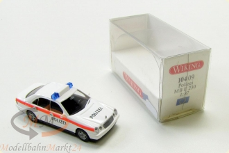 WIKING 104 09 Mercedes Benz E 230 4-t�rig wei� Polizei Modell im Ma�stab 1:87