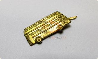 Anstecker Pin Form eines Doppeldecker Bus in Messing-Optik - Ma�e ca. 3,5 x 2 cm